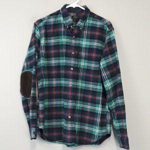 J. Crew Plaid Elbow patch Flannel Shirt size L